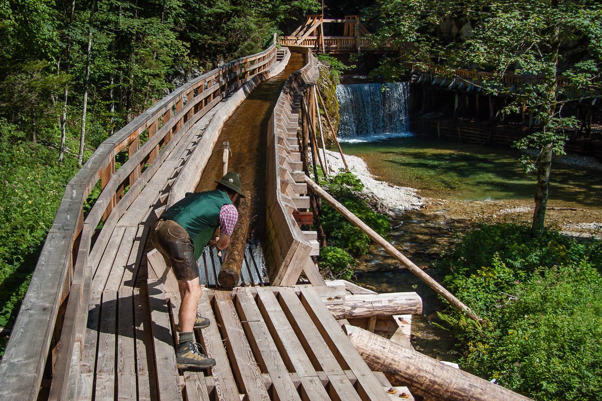 Endstation der letzten funktionsfähige Holztriftanlage Mitteleuropas