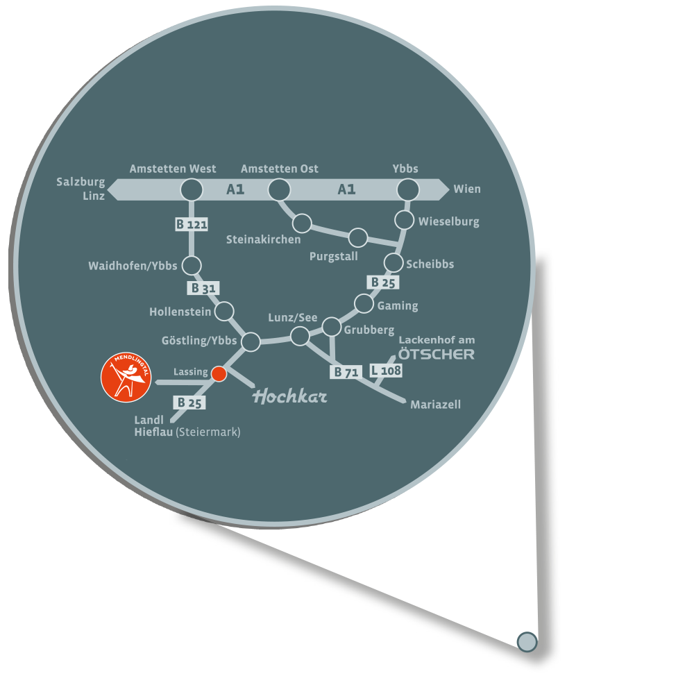 Anfahrtsplan Mendlingtal - Göstling an der Ybbs